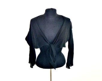 Vintage Tie-Wrap Linen Gauze Super-Crop Long-Sleeved Blouse in Black Women's Large