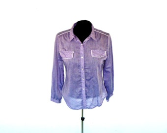 Vintage 1970's Western Button-Up Shirt with Discrete Gingham Pattern on Lilac Worn-Sheer Fabric and White Piping