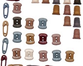 Jesse James Buttons Tiny Sewing Thread Spools Thimbles Safety Pins Sewing Themed Novelty Buttons