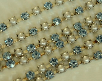 Vintage Swarovski Rhinestone Chain Light Sapphire and Pearl 3mm Silver Plated (1) Foot