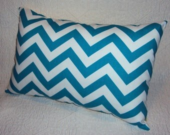 Turquoise Blue Chevron Zig Zag Lumbar Pillow Cover - Available in 3 Sizes