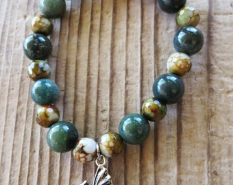 Dragon Charm with Fancy Jasper and Faceted Agate Beaded Stretch Bracelet