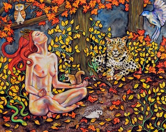 "large giclee (11"" by 14"") - Friends of the Forest"