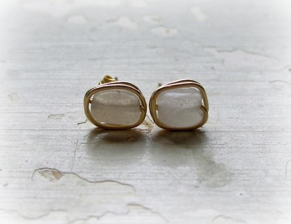 Cube Stud Earrings, Gold  Wrap Studs, Quartz Posts,Natural Stone Stud Earrings, Opaque Post Earrings,Gemstone Stud Earrings,Neutral Earrings