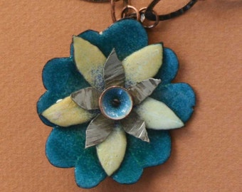 Summer Whimsey Blue and Yellow Copper Enameled Pendant