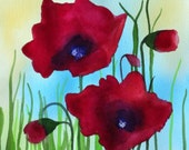 poppies field flowers wild spring red gift