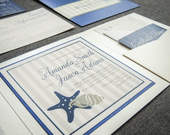 "Blue Beach Wedding Invitations, Destination Wedding Invitations, Pocketfold Invitation, Navy and White Wedding - ""Starfish & Shell"" PF-1L-v2"