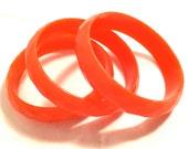 SET of 3 Neon Bright Bold ORANGE Tangerine Faceted Old Plastic Acrylic Bracelet Bangles Authentic Genuine Vintage Jewelry talkingfashion 70s