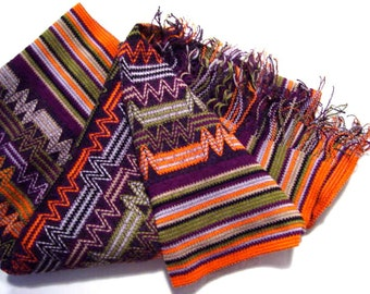 MISSONI foulard wool Scarf men women Orange Purple Accessory Designer Missoni Made in Italy Authentic Vintage parladimoda artedellamoda NOS