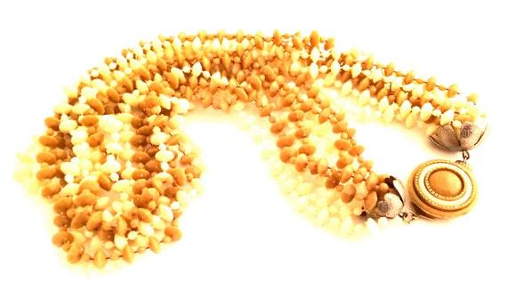 MULTI Strands Torsade Yellow Butter Cream Camel Brown Plastic Crystals Shaggy 60s Necklace Vintage Jewelry artedellamoda SALE was 30