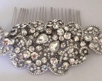 Vintage inspired rhinestone Swarovski headpiece (rhodium)