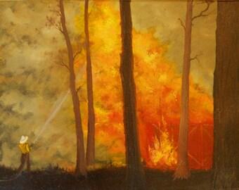 "Original Hand-Painted Oil Painting ""Barn Fire""  11 x14 Canvas OOAK Firefighter Fireman"