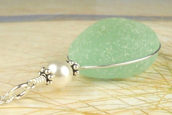 GENUINE Aqua Sea Glass Jewelry Wire Wrapped Necklace Sterling Silver And Pearl Eco Friendly