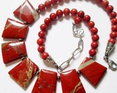 Red Jasper Trapezoid Beads and Sponge Coral Necklace, Handmade Necklace, Handmade Jewelry