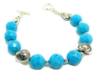 Turquoise Blue Magnasite Faceted Bead and SP Heart Bracelet