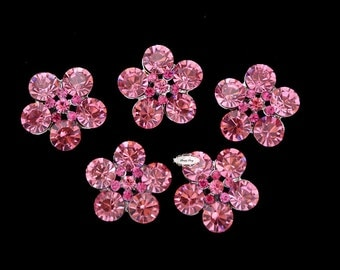 5 Pink Rhinestone Metal Flat Back Embellishment Buttons - Flatback Rhinestone Buttons - Wedding - Jewelry - DIY Brooch Bouquets - Hair Bows