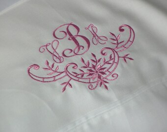 Monogrammed Pillowcase-Embroidered in any color you desire--HALF ELEGANT