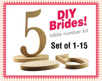 1-15 Wooden Numbers - Do It Yourself Wedding Table Number Kit - Unfinished Wood Numbers DIY015
