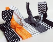 Black Orange Hair Elastics Ponytails:  no crease  hippie hair ties chevron dots orange black grey
