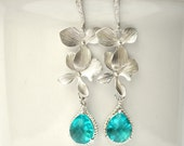 Blue Orchid Earrings Long Dangle Flower in Rhinestone Earwires - Bridesmaid Gifts Bridal Jewelry Set of 1 2 3 4 5 6 7 8 9 10 12 11