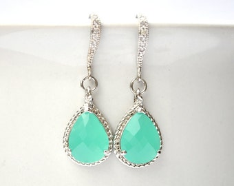 Bridesmaid Aqua Earrings Briolette Framed Glass Rhinestone Set of 1 2 3 4 5 6 7 8 9 10 11 12