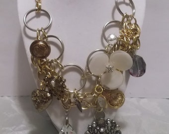 Silver and Gold Charm Necklace