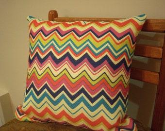 Sale Accent Throw Pillow Cover Chevron Stripe Orange Blue Pink Royal Blue 16 x 16 Invisible Zipper Closure
