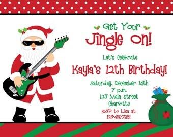 Christmas Birthday Invitation  - Christmas party invitation - you print or I print