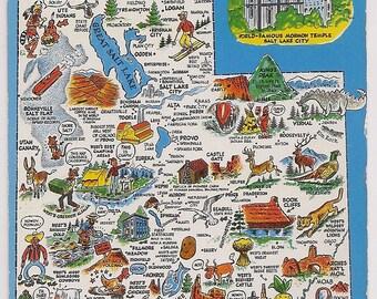 Retro Utah Tourist Map Vintage Postcard Souvenir Mormon