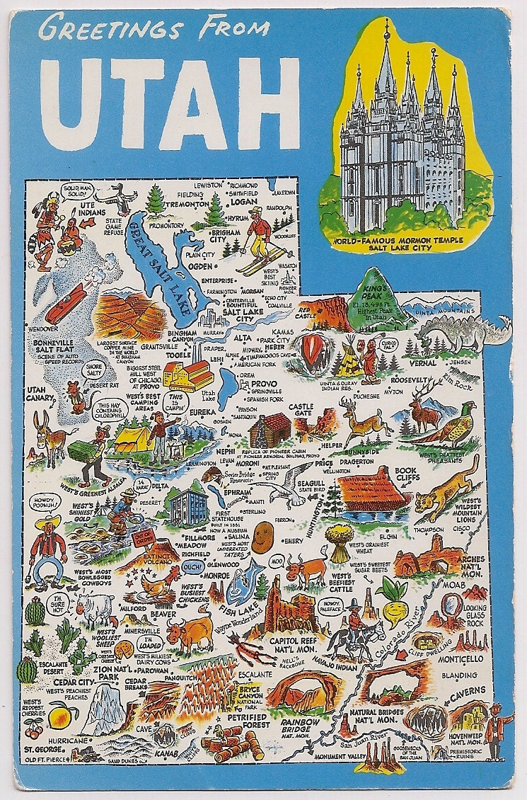 Retro Utah Tourist Map Vintage Postcard Souvenir Mormon Temple
