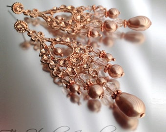 Rose Gold Crystal Rhinestone and Pearl Bridal Chandelier Earrings - Also available in Silver or Gold