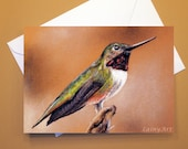 Art Greeting Card  - Created from Original ACEO drawing for Charity - Blank Notecard - 4x6 - hummingbird- Day 352
