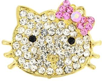 Crystal Kitty Bow Pin Brooch 1010565