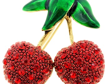 Red Cherry Fruit Crystal Pin Brooch 1002413