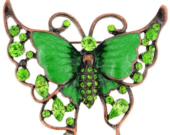 Greeb Butterfly Crystal Pin Brooch 1002332