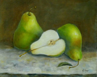 CUT PEAR Still Life 12 x 12 x 1.5 inches original oil painting by Alexandra Kopp