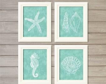 Nautical Creatures Turquoise Blue -8x10- Starfish Seafoam Shell Beach Ocean Instant Download Digital Print Bath Living Room Decor Wall Art
