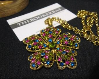vintage Rhinestone Rhinestones Necklace Pendant flower floral petal shape Pink fushia Blue royal Green peridot olivine FREE SHIPPING USA