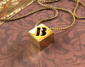 Vintage Initial Necklace Biagi Jewelry Initial B Pendant and Chain - epsteam vestiesteam thebestvintage