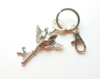 Wolf Key Chain / Clip On Keyring / Skeleton Key Accessory / Key Clip / Key Ring / Animal Lover Keychain