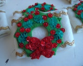 Set of Six Christmas Wreath Napkin Holders