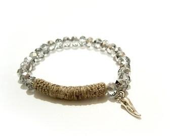 Beaded Stretch Bracelet, metallic grey iridescent coated abacus beads linen tube bar, vegetable pepper charm