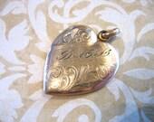 Vintage 10K Gold Filled HEART Locket Pendant DML Initials