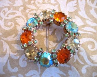 Vintage Aurora Borealis Circular Rhinestone Brooch