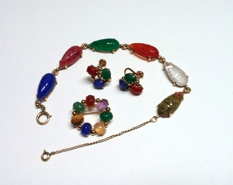 14K Gold Scarab Jewelry Bracelet, Earrings, Brooch, Demi Parure