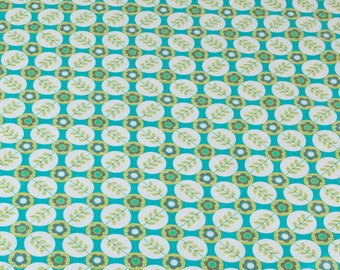 "LAMINATED Cotton  - Turquoise Paisley Dots, 56"" Wide, BPA & PVC Free"
