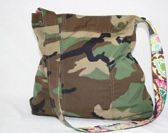 Woodland Camo Medium Tote Bag Upcycled Repurposed Camouflage Uniform