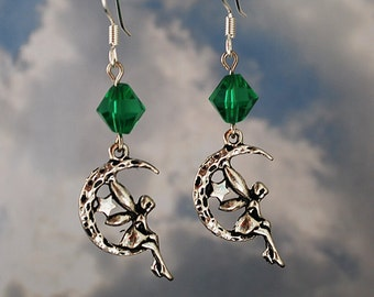 Silver Fairy Earrings with Green Crystals