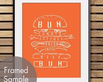 Hamburger Art - Art Print (Featured in Crimson Orange) (Buy 3 and get One Free) BBQ Party / Kitchen Print