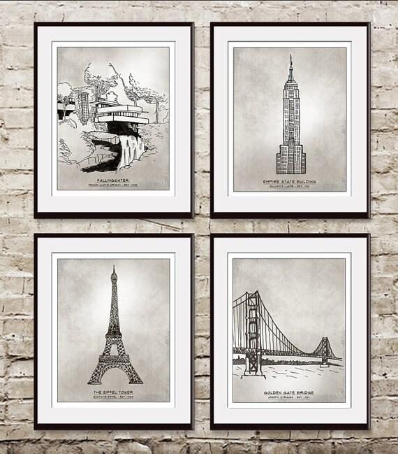 Landmarks (Artist Sketchpad Collection) Set of 4 - Art Prints (Modern Vintage Inspired)